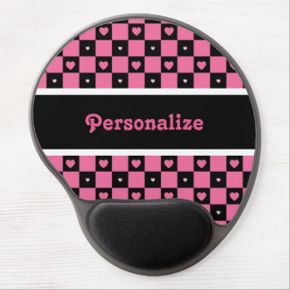 Modern Pink and Black Checkered Hearts With Name Gel Mousepads