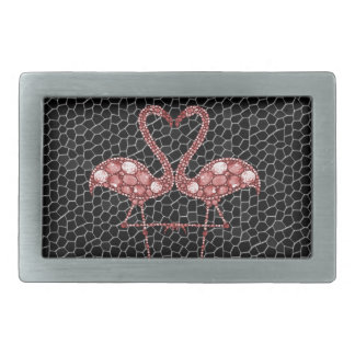 Modern Pink and Black Flamingo Abstract Rectangular Belt Buckle