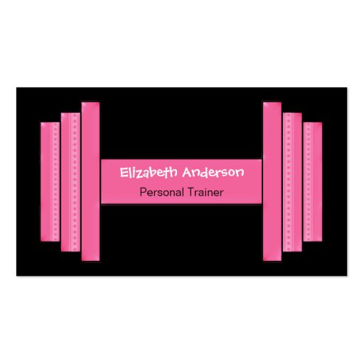 Modern Pink And Black Personal Trainer Business Card Template