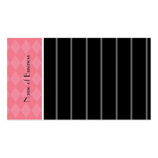Modern Pink And Black Pinstripes Business Card