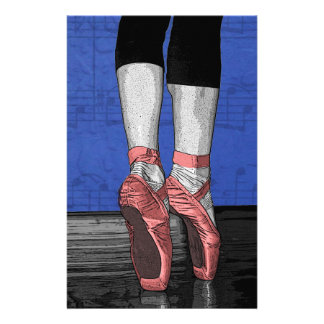 Modern Pink and Blue Dancing Ballerina - Point Sh Stationery Paper