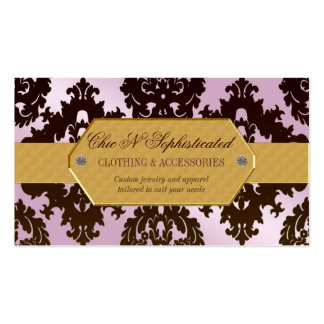 Modern Pink and Brown Damask Business Cards