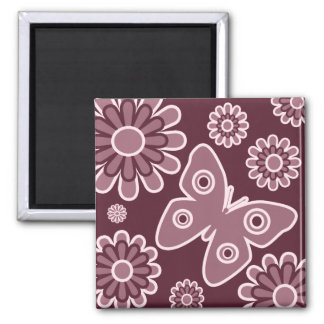 Modern Pink And Burgundy Floral Butterfly Magnet