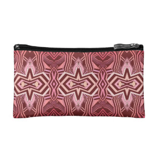 Modern Pink and Burgundy Geometric Pattern Cosmetic Bags