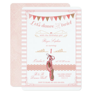Modern Pink and Gold Ballerina Birthday Invitation