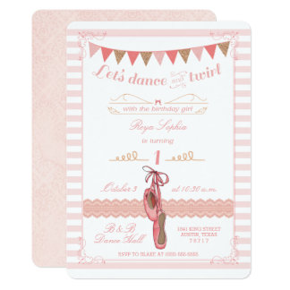 Modern Pink and Gold Ballerina Birthday Invitation