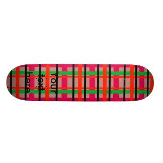 Modern pink and green plaid 18.1 cm old school skateboard deck