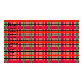 Modern pink and green plaid business card templates