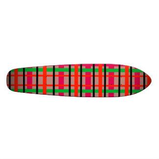 Modern pink and green plaid custom skateboard