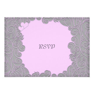 Modern Pink and Grey Swirl Wedding RSVP Custom Invites