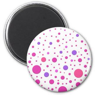 Modern Pink and Purple Random Circles Refrigerator Magnets