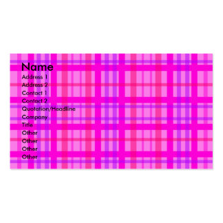 Modern pink and violet plaid business card templates