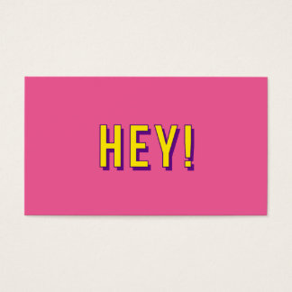 Modern pink and yellow bold hey business card