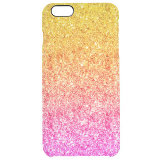 Modern Pink And Yellow Faux Glitter Background Clear iPhone 6 Plus Case