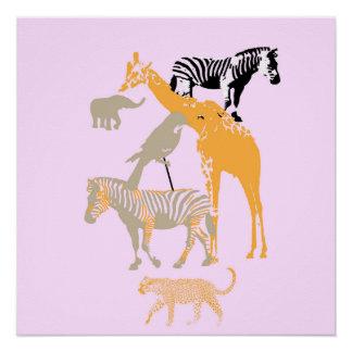 Modern Pink Animal Safari Poster Decor
