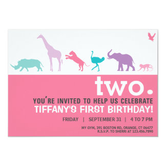Modern Pink Animal Silhouette Birthday Invite
