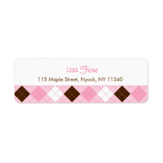 Modern Pink Argyle Address Labels