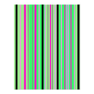 Modern pink black and bright green stripes flyers