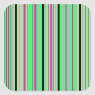 Modern pink black and bright green stripes square sticker