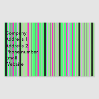 Modern pink black and bright green stripes rectangle stickers