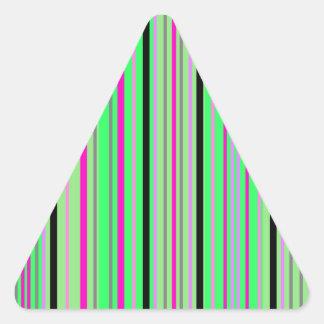 Modern pink black and bright green stripes triangle sticker