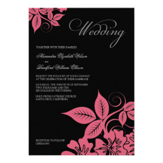 Modern Pink Black Floral Wedding Invitation