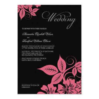 Modern Pink/Black Floral Wedding Invitation