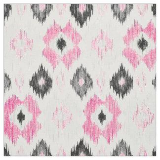 Modern pink black trendy ikat pattern fabric