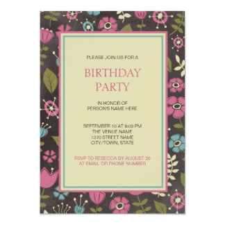 Modern Pink & Blue Floral Birthday Party Card