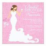 Modern Pink Bride Wine Bridal Shower 13 Cm X 13 Cm Square Invitation Card