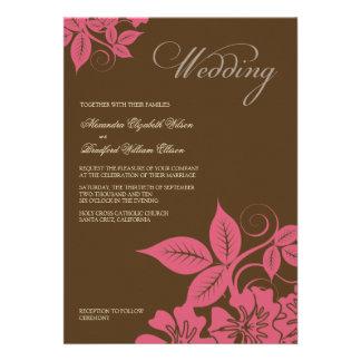 Modern Pink/Brown Floral Wedding Invitation