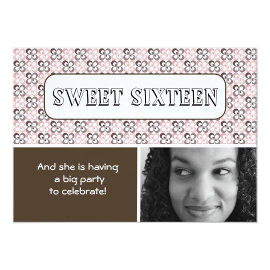 modern pink brown flower patterned sweet sixteen card
