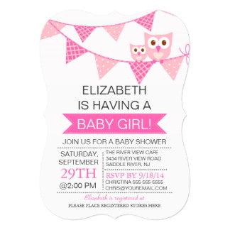 Modern Pink Bunting Owl GIRL Baby Shower Card