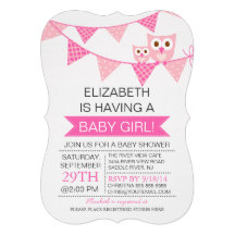 Modern Pink Bunting Owl GIRL Baby Shower Personalized Invites