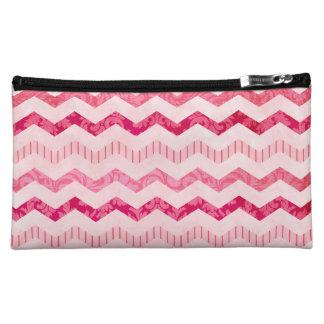 Modern Pink Chevron Pattern Cosmetic Bag