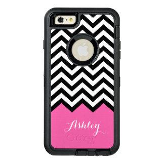 Modern Pink Chevron Pattern Girly Monogram Name OtterBox iPhone 6/6s Plus Case