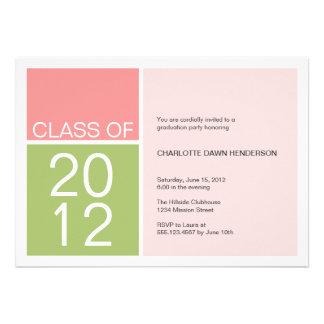 Modern pink color block class graduation invite