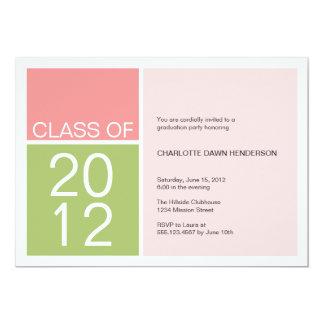 "Modern pink color block class graduation invite 5"" x 7"" invitation card"
