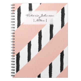 Modern pink coral black watercolor stripes pattern spiral notebooks