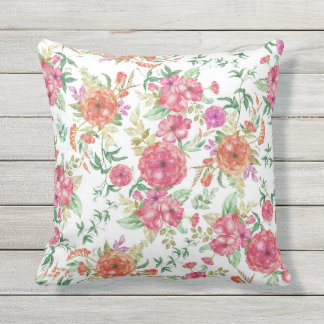 Modern pink coral green watercolor floral roses outdoor cushion