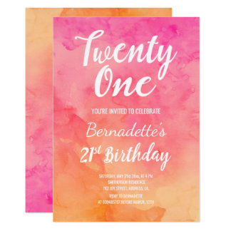 Modern pink coral watercolor ombre 21st Birthday Card