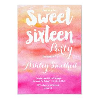 Modern pink coral watercolor Sweet 16 Card