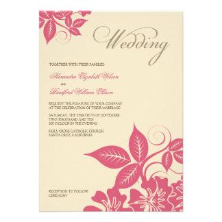 Modern Pink/Cream Floral Wedding Invitation