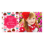 Modern Pink Cupcakes Any Occasion Thank You Picture Card