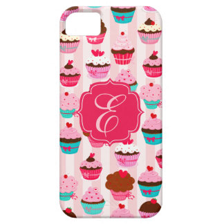 Modern Pink Cupcakes Girly Monogrammed Barely There iPhone 5 Case