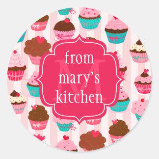 Modern Pink Cupcakes Monogrammed Food Label Round Sticker