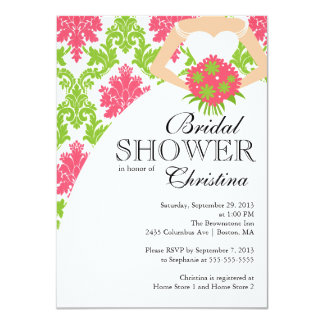Modern Pink Damask Beautiful Bride Bridal Shower 4.5x6.25 Paper Invitation Card
