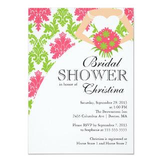 Modern Pink Damask Beautiful Bride Bridal Shower Custom Announcement