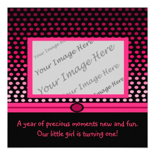 Modern Pink Dots First Birthday Party Invitations