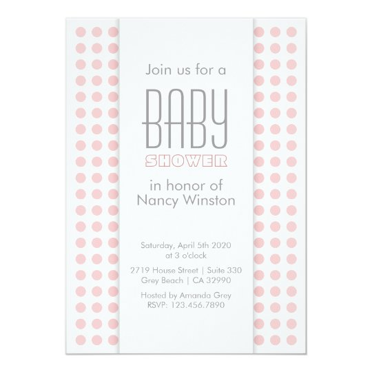 Modern Pink Dots Girl Baby Shower Invitation